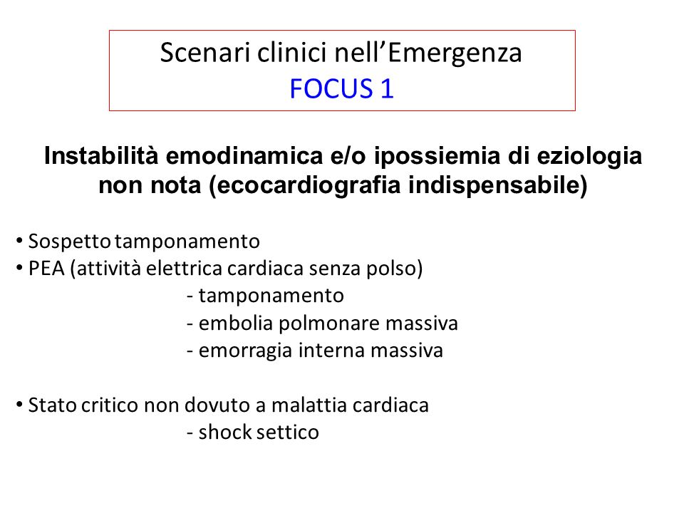 Scenari clinici nell'Emergenza FOCUS 1