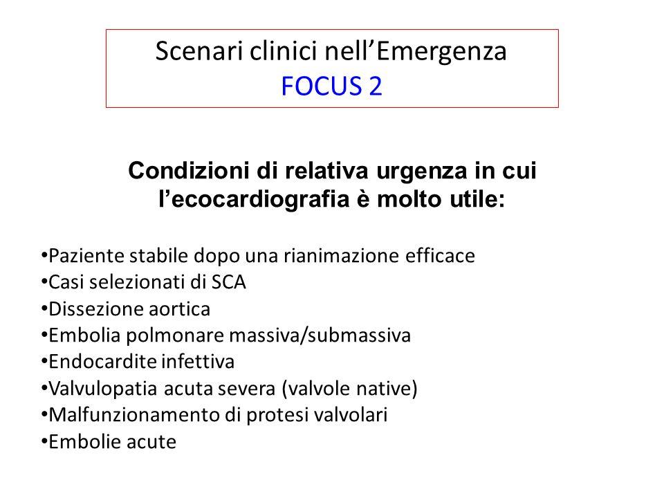 Condizioni di relativa urgenza in cui l'ecocardiografia è molto utile: