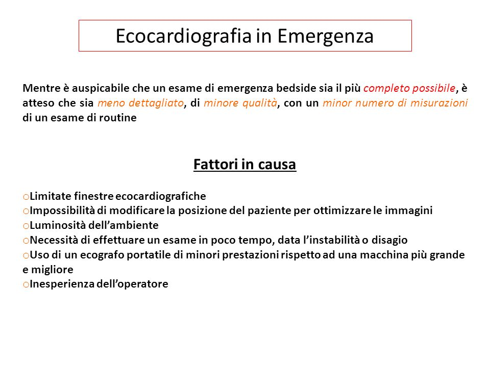 Ecocardiografia in Emergenza