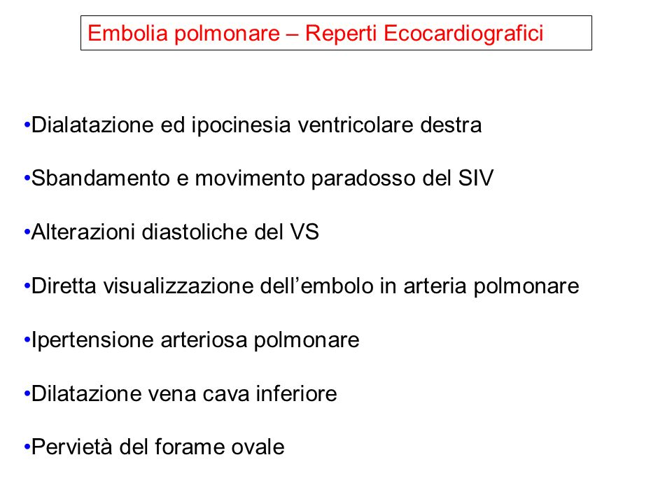 Embolia polmonare – Reperti Ecocardiografici