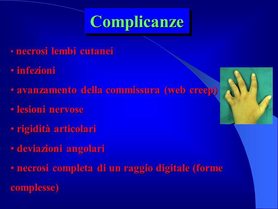 Complicanze infezioni avanzamento della commissura (web creep)