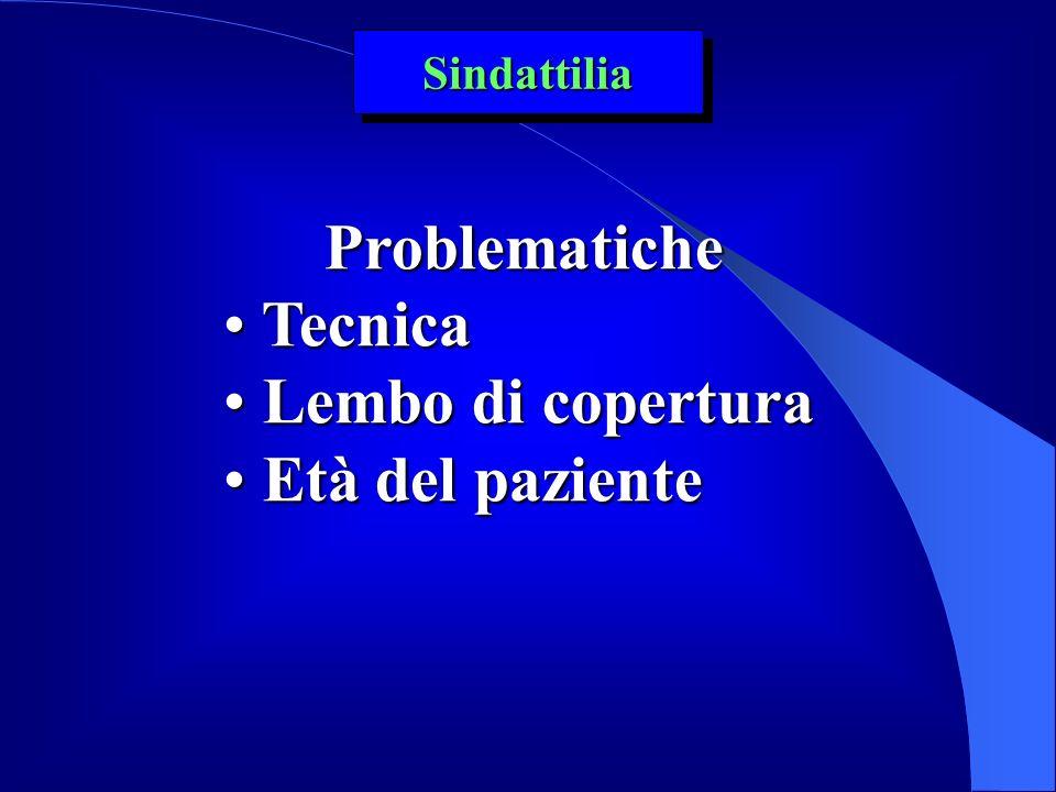 Sindattilia Problematiche Tecnica Lembo di copertura Età del paziente