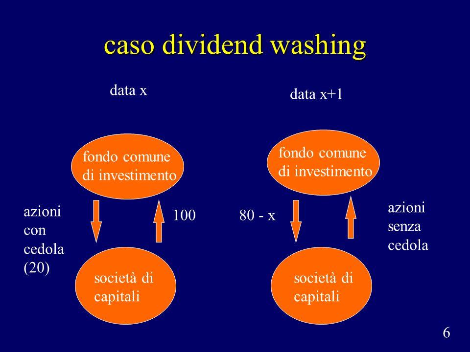 caso dividend washing data x data x+1 fondo comune di investimento