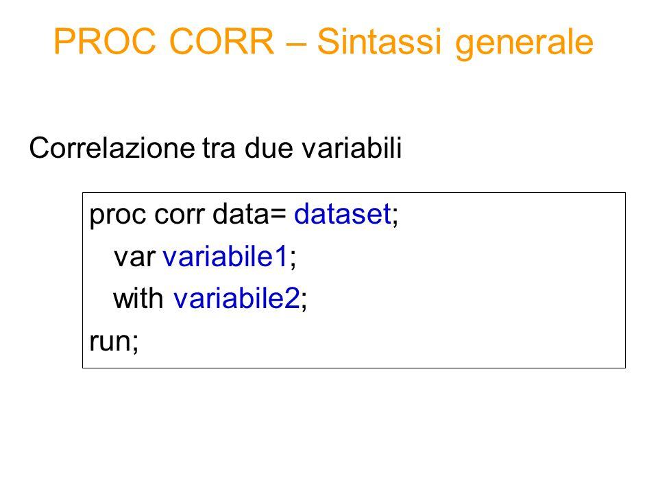 PROC CORR – Sintassi generale