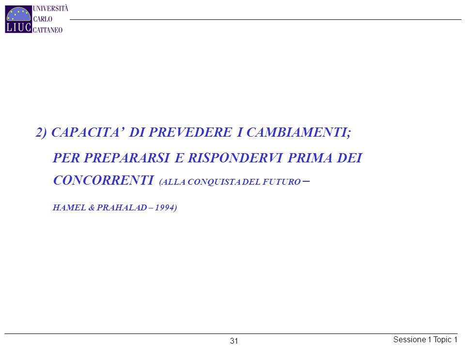 2) CAPACITA' DI PREVEDERE I CAMBIAMENTI;