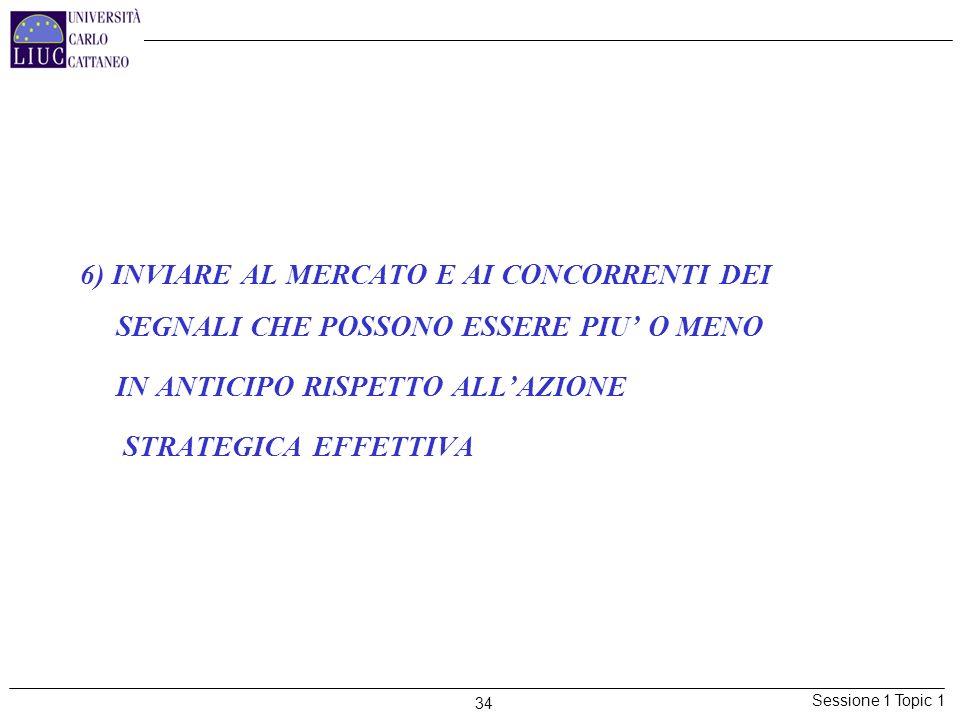 6) INVIARE AL MERCATO E AI CONCORRENTI DEI SEGNALI CHE POSSONO ESSERE PIU' O MENO