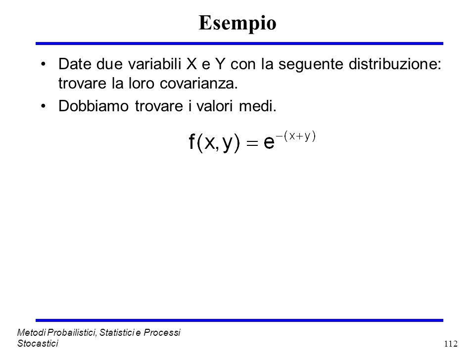 Esempio Date due variabili X e Y con la seguente distribuzione: trovare la loro covarianza. Dobbiamo trovare i valori medi.