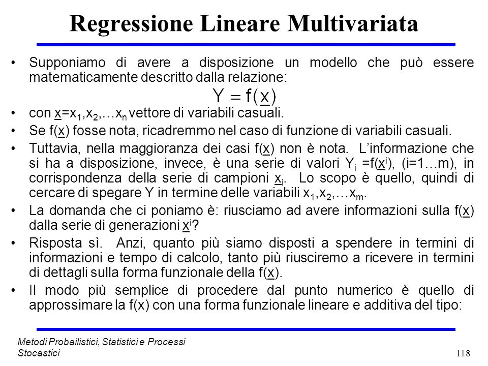 Regressione Lineare Multivariata