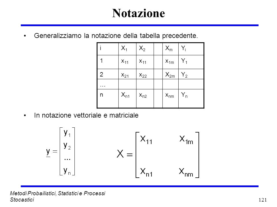 Notazione Generalizziamo la notazione della tabella precedente.