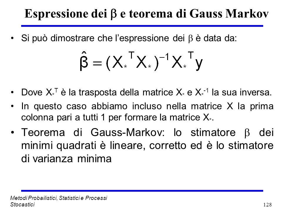 Espressione dei  e teorema di Gauss Markov