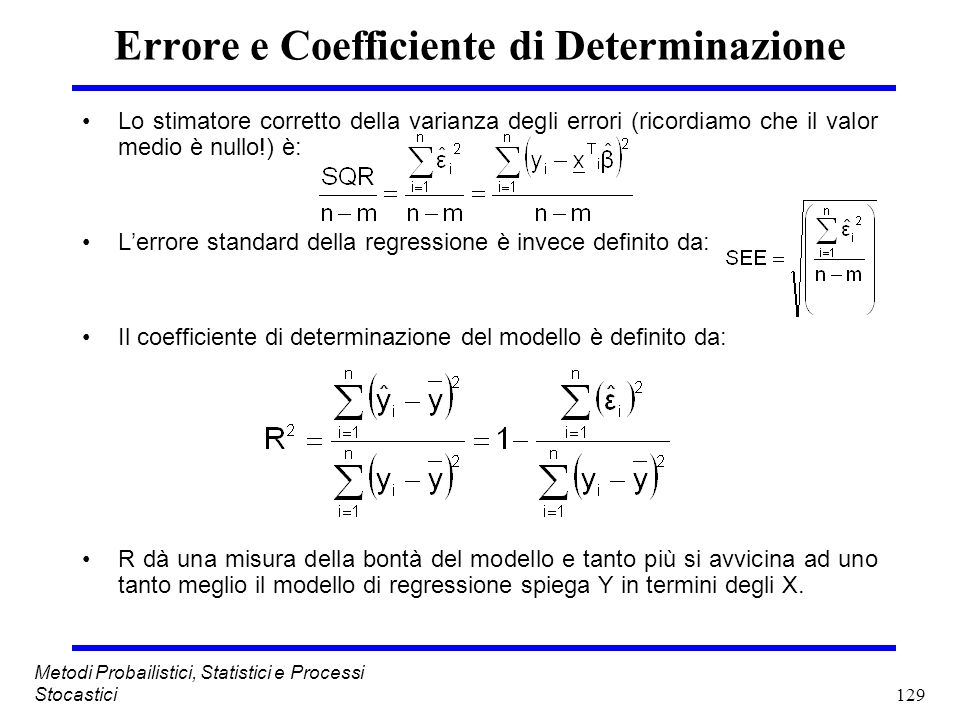 Errore e Coefficiente di Determinazione
