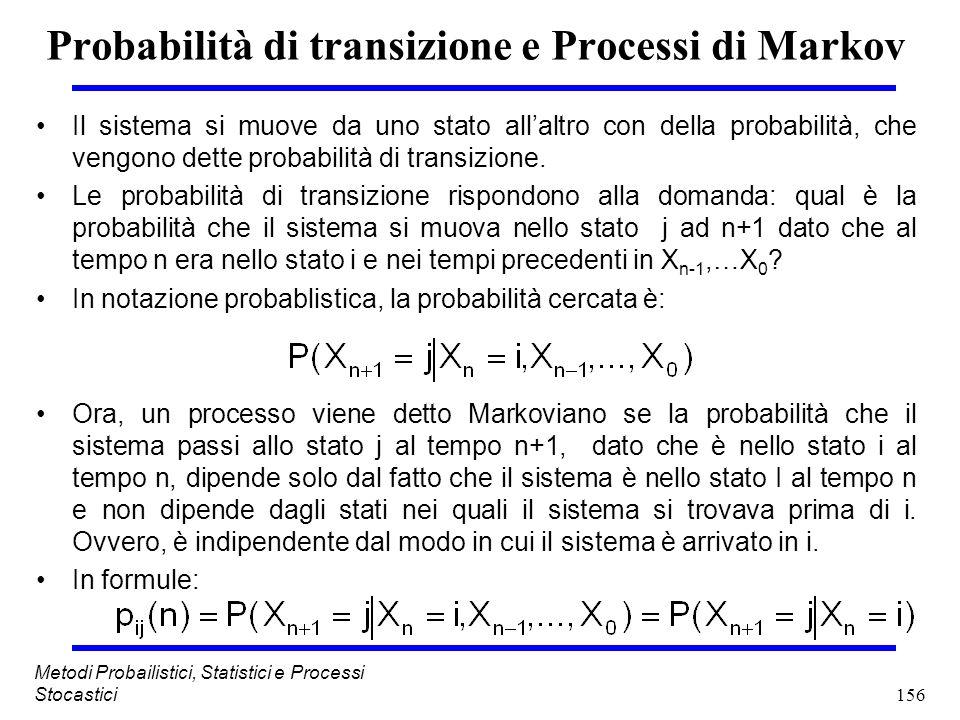 Probabilità di transizione e Processi di Markov