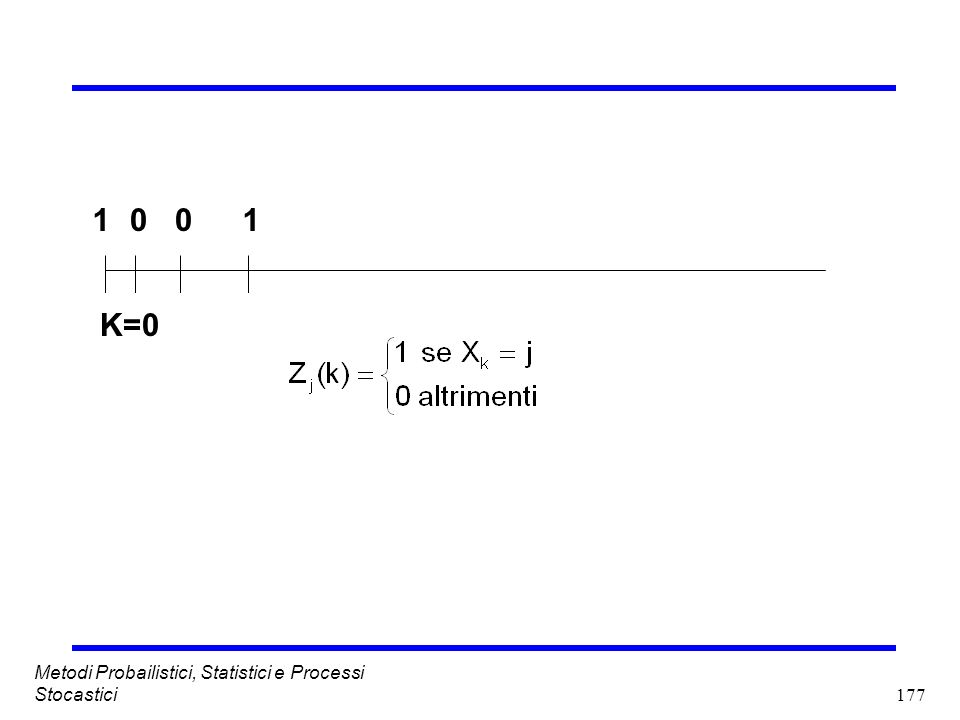 1 1 K=0 Metodi Probailistici, Statistici e Processi Stocastici