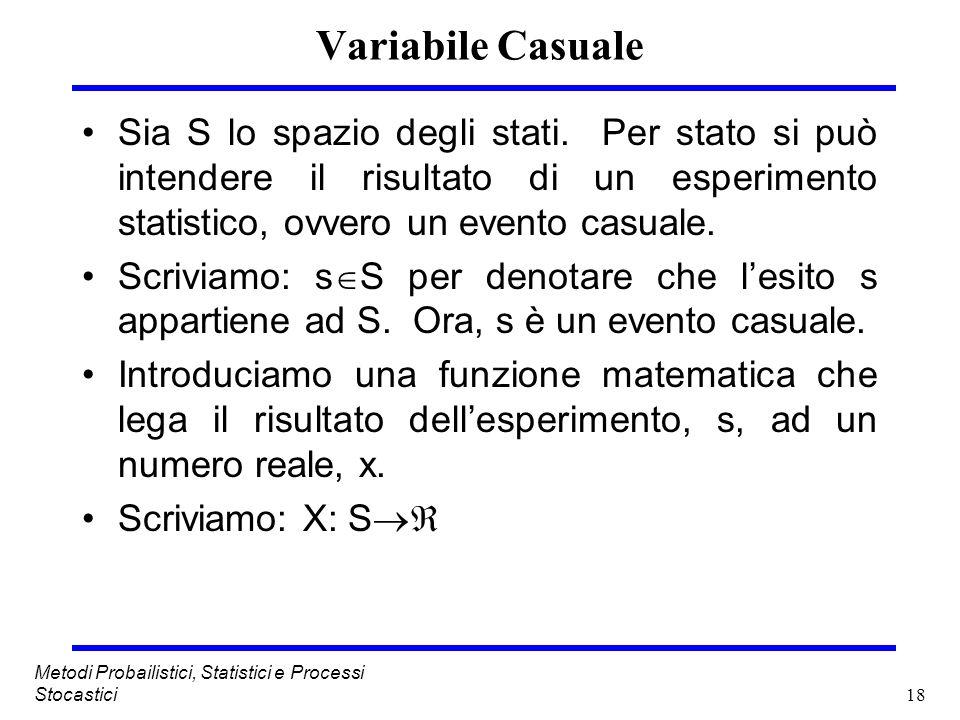 Variabile Casuale Sia S lo spazio degli stati. Per stato si può intendere il risultato di un esperimento statistico, ovvero un evento casuale.