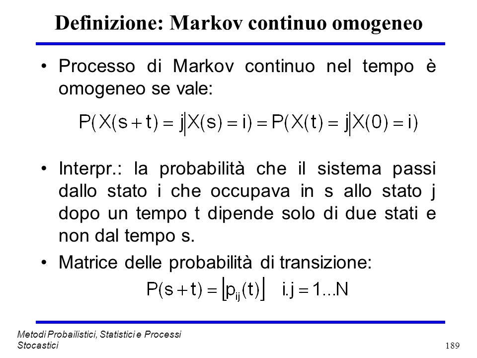 Definizione: Markov continuo omogeneo