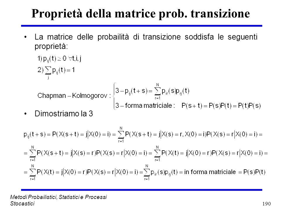 Proprietà della matrice prob. transizione