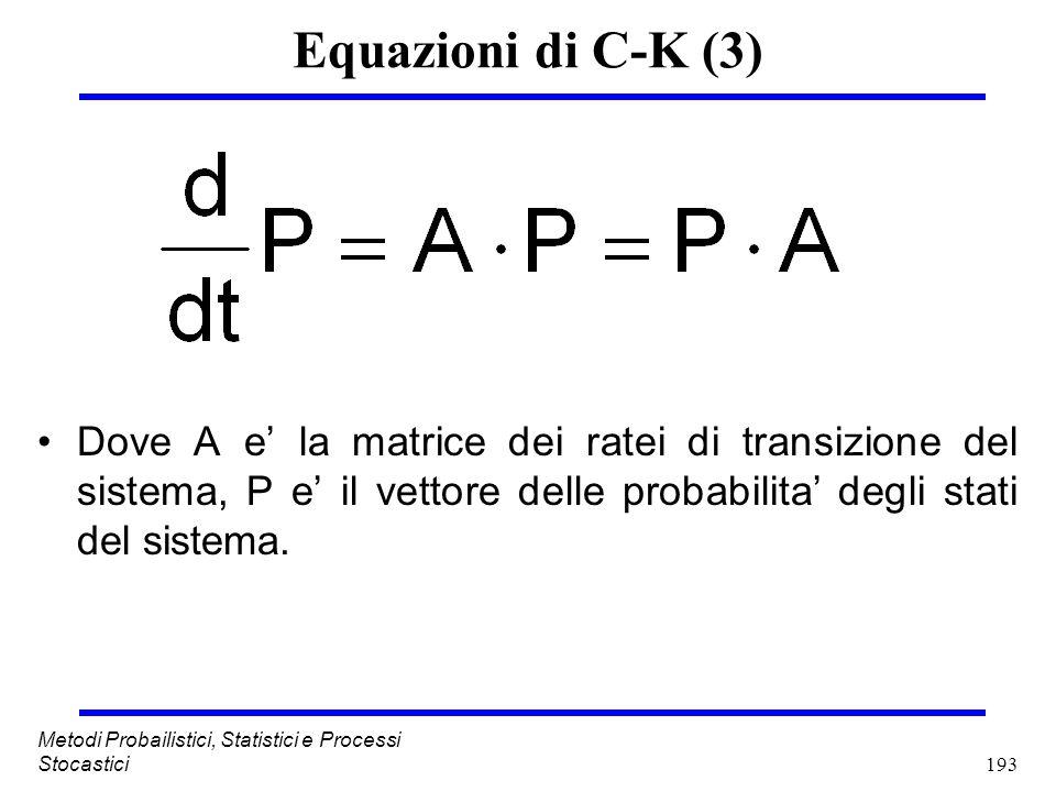 Equazioni di C-K (3) Dove A e' la matrice dei ratei di transizione del sistema, P e' il vettore delle probabilita' degli stati del sistema.