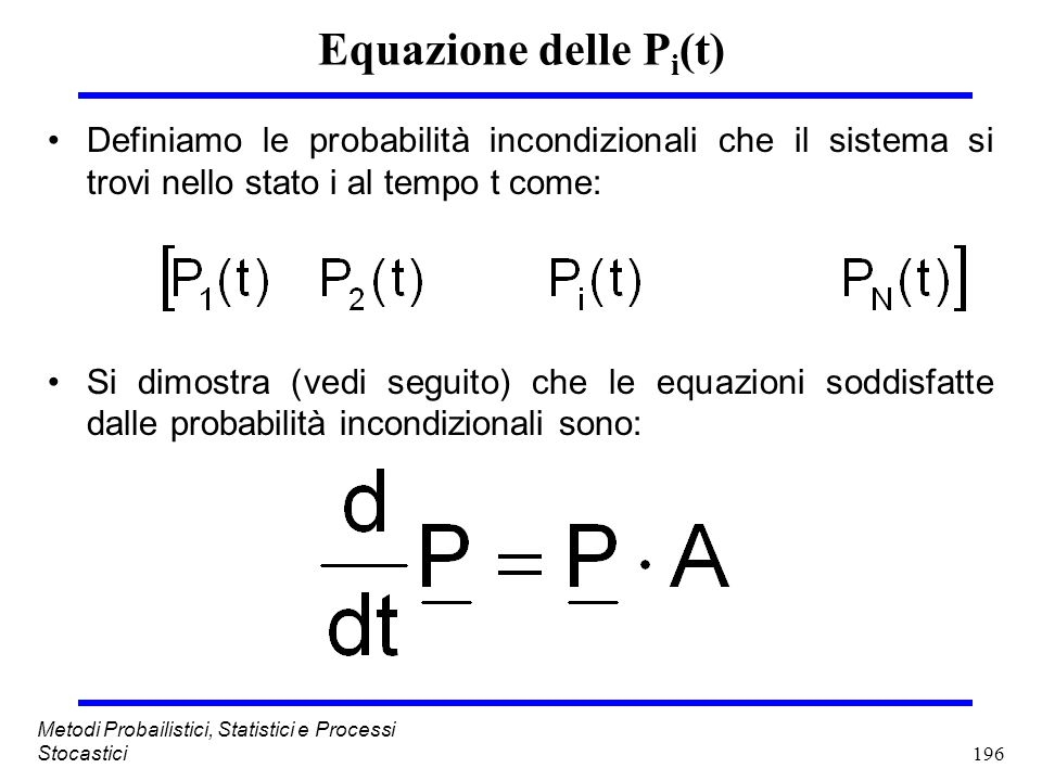 Equazione delle Pi(t) Definiamo le probabilità incondizionali che il sistema si trovi nello stato i al tempo t come: