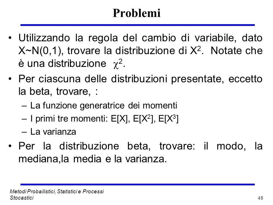 Problemi Utilizzando la regola del cambio di variabile, dato X~N(0,1), trovare la distribuzione di X2. Notate che è una distribuzione 2.