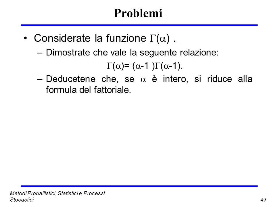 Problemi Considerate la funzione () .