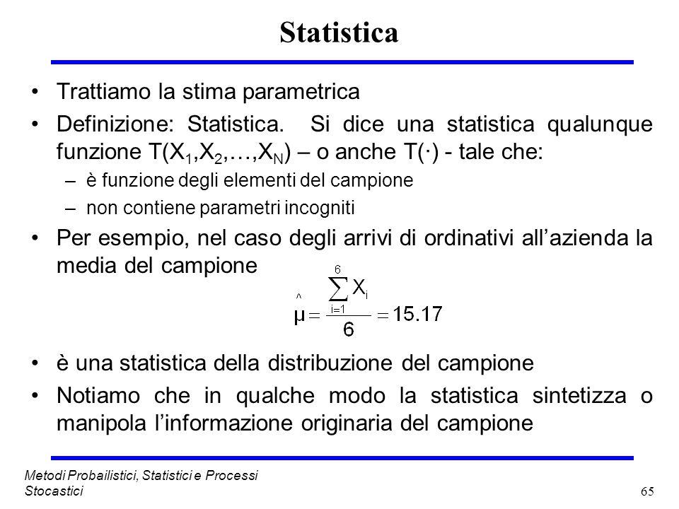 Statistica Trattiamo la stima parametrica