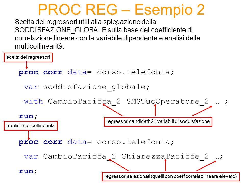 PROC REG – Esempio 2 proc corr data= corso.telefonia;