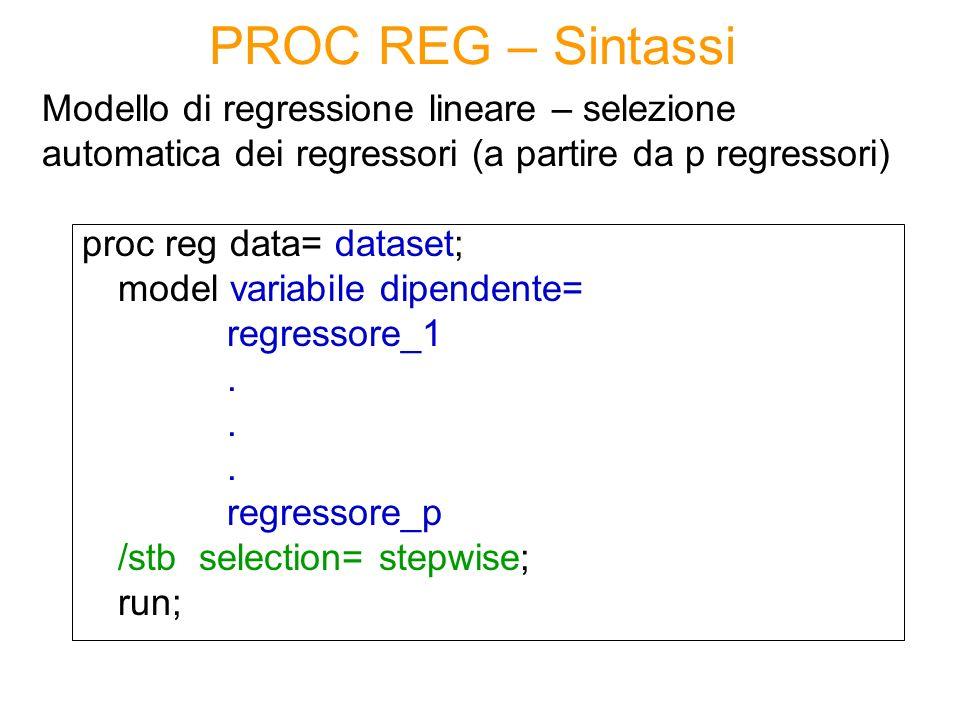 PROC REG – Sintassi Modello di regressione lineare – selezione automatica dei regressori (a partire da p regressori)