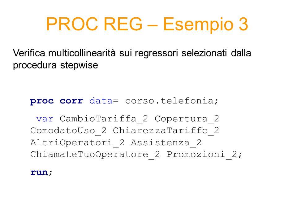 PROC REG – Esempio 3 Verifica multicollinearità sui regressori selezionati dalla procedura stepwise.