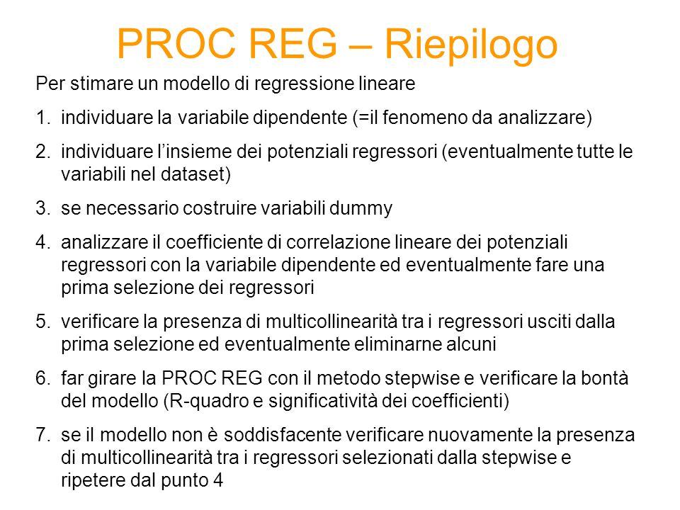 PROC REG – Riepilogo Per stimare un modello di regressione lineare