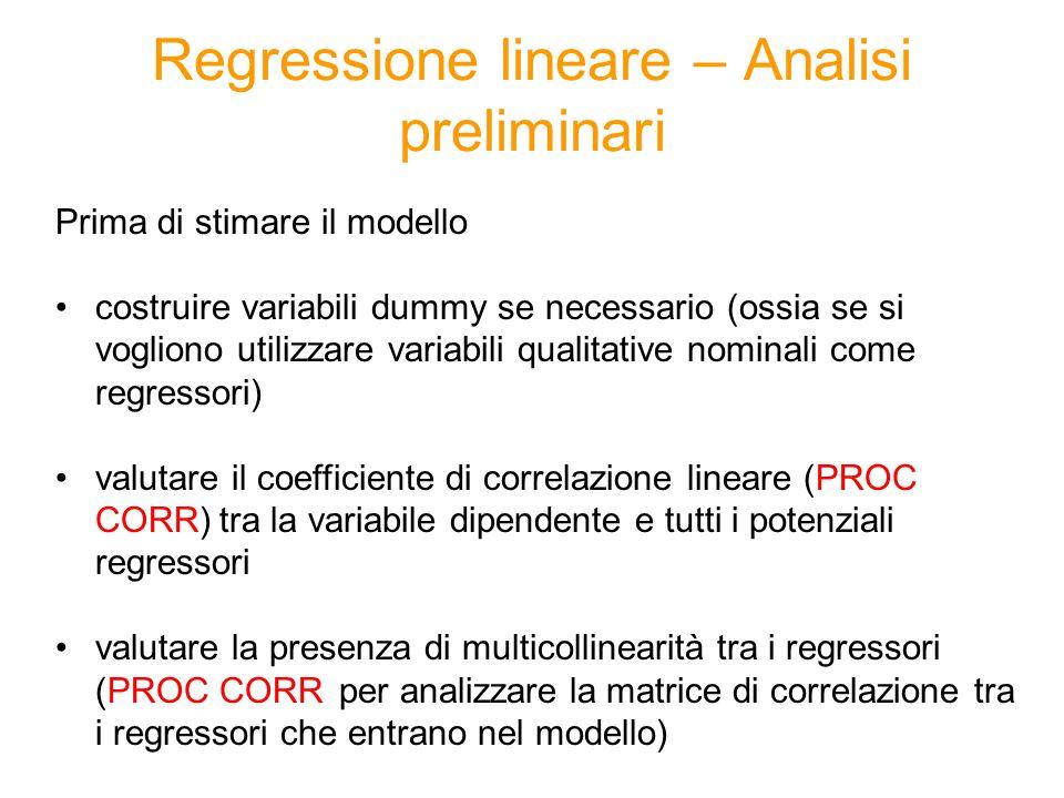 Regressione lineare – Analisi preliminari