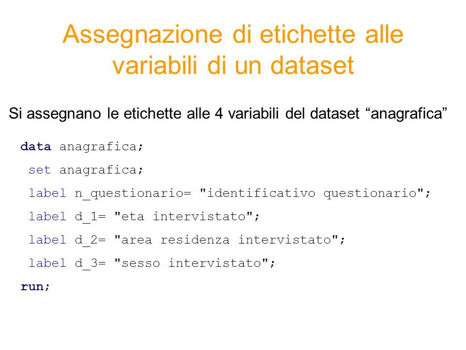 Assegnazione di etichette alle variabili di un dataset