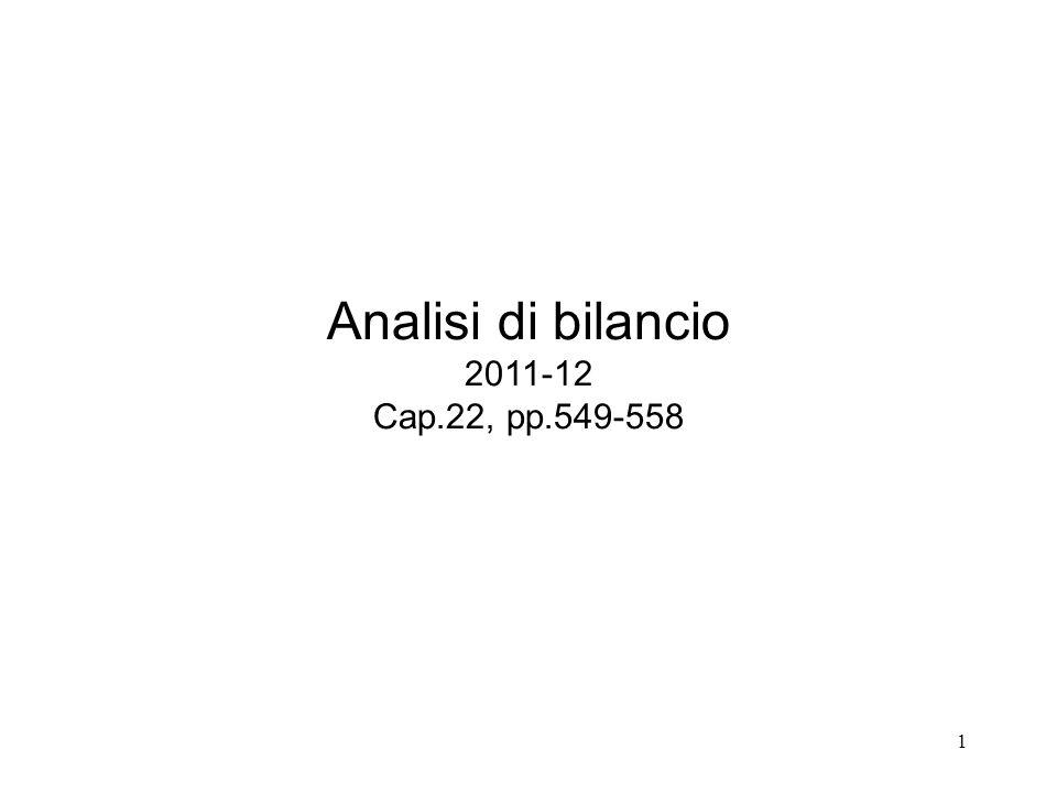 Analisi di bilancio 2011-12 Cap.22, pp.549-558