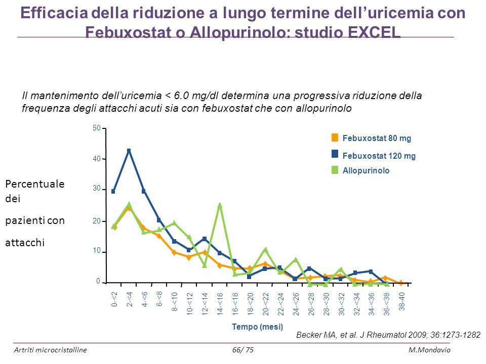 Efficacia della riduzione a lungo termine dell'uricemia con Febuxostat o Allopurinolo: studio EXCEL