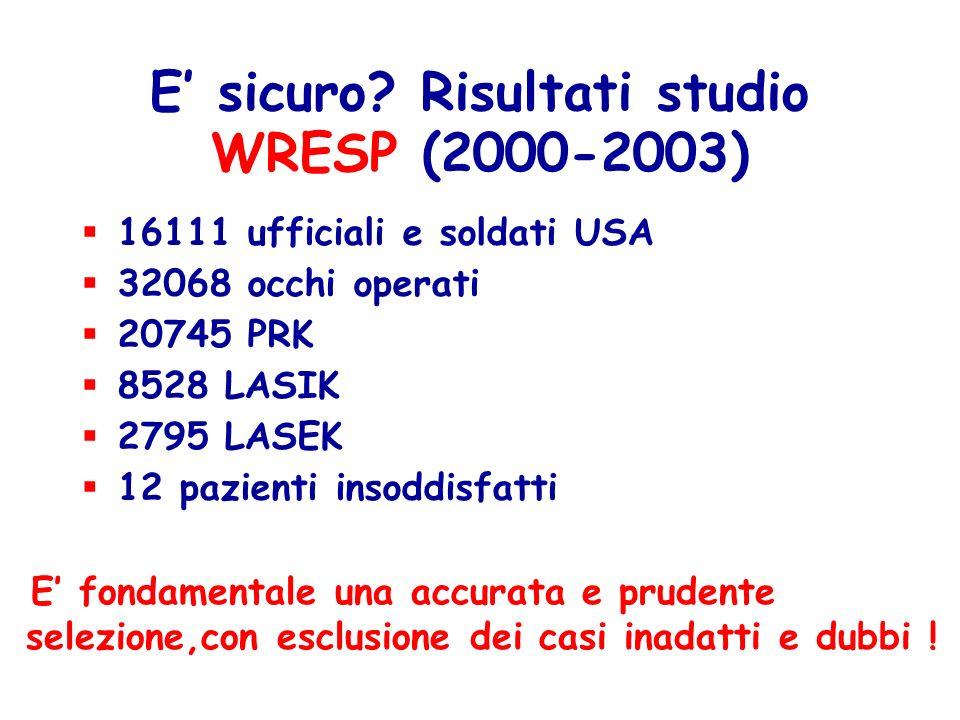 E' sicuro Risultati studio WRESP (2000-2003)
