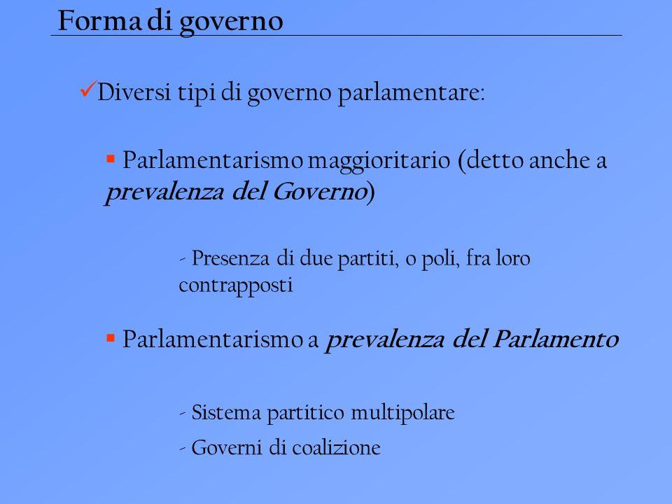 Forma di governo Diversi tipi di governo parlamentare: