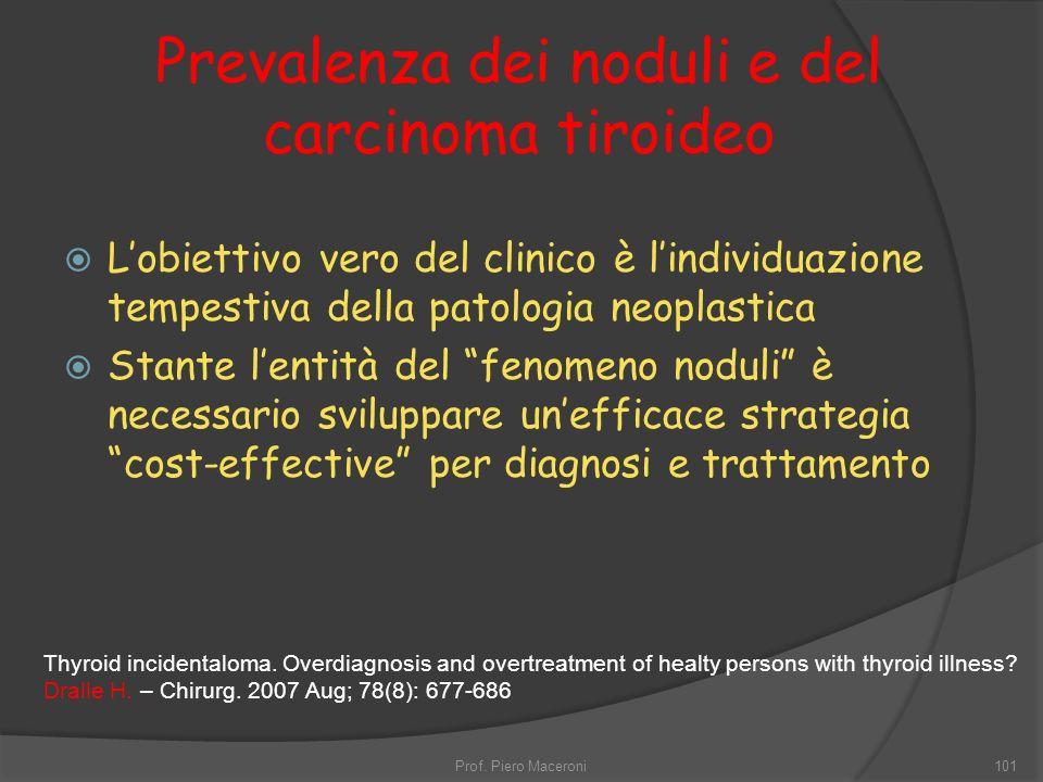 Prevalenza dei noduli e del carcinoma tiroideo