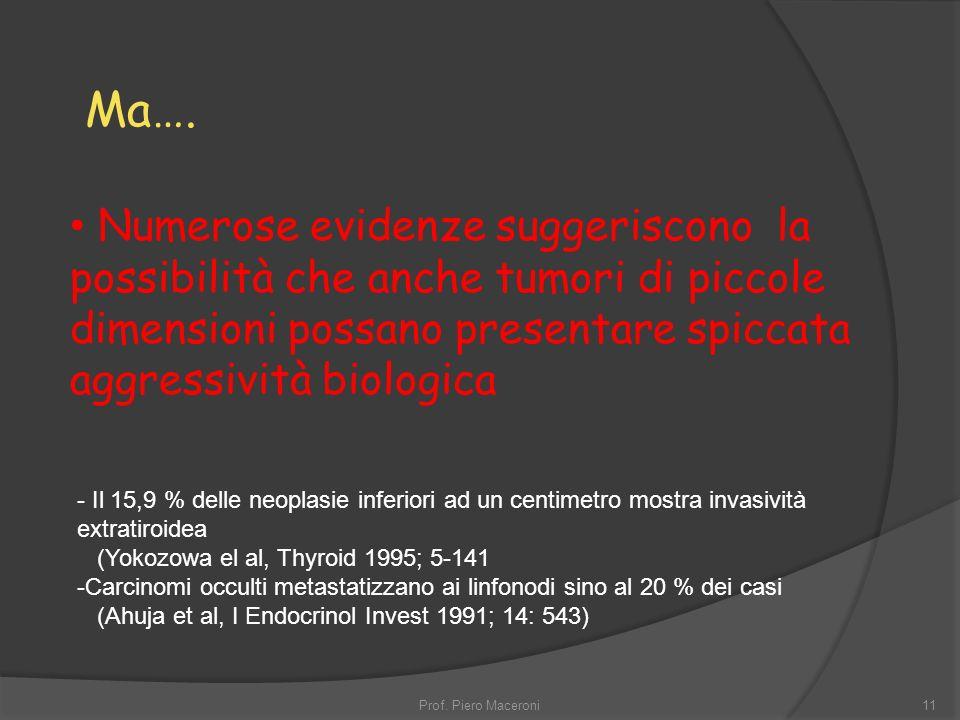 Ma…. Numerose evidenze suggeriscono la possibilità che anche tumori di piccole dimensioni possano presentare spiccata aggressività biologica.