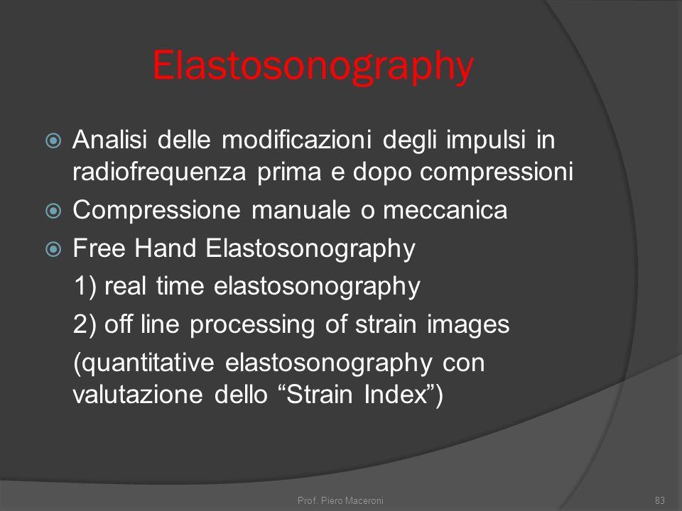 Elastosonography Analisi delle modificazioni degli impulsi in radiofrequenza prima e dopo compressioni.