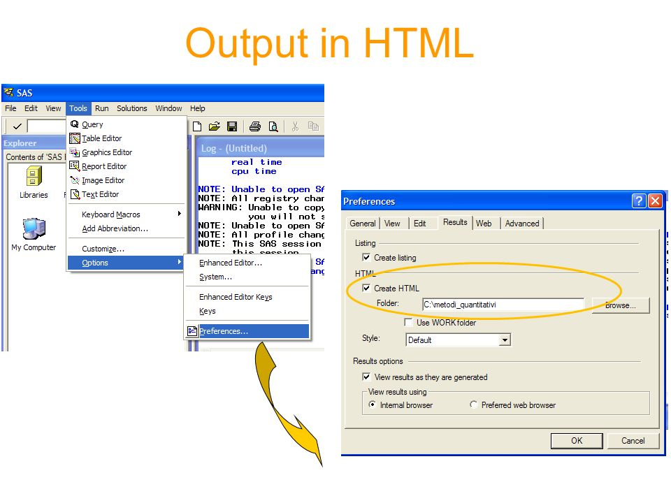 Output in HTML