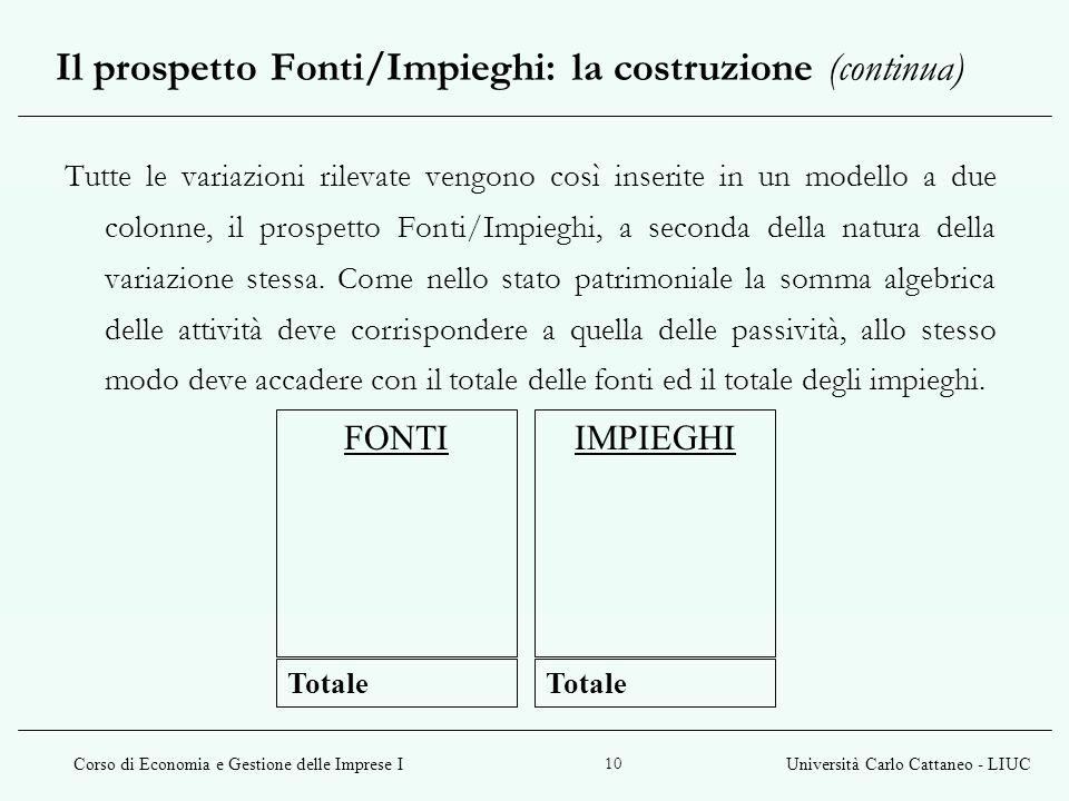 Il prospetto Fonti/Impieghi: la costruzione (continua)