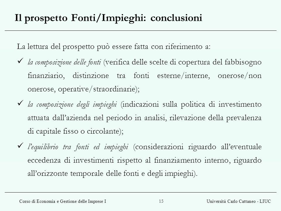 Il prospetto Fonti/Impieghi: conclusioni