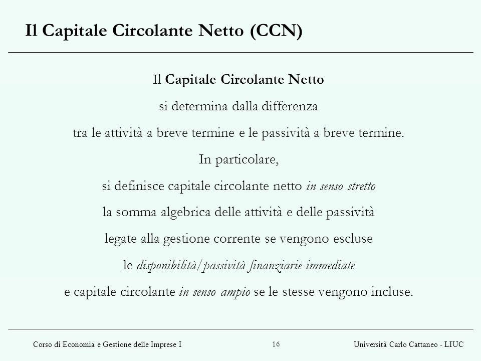 Il Capitale Circolante Netto (CCN)