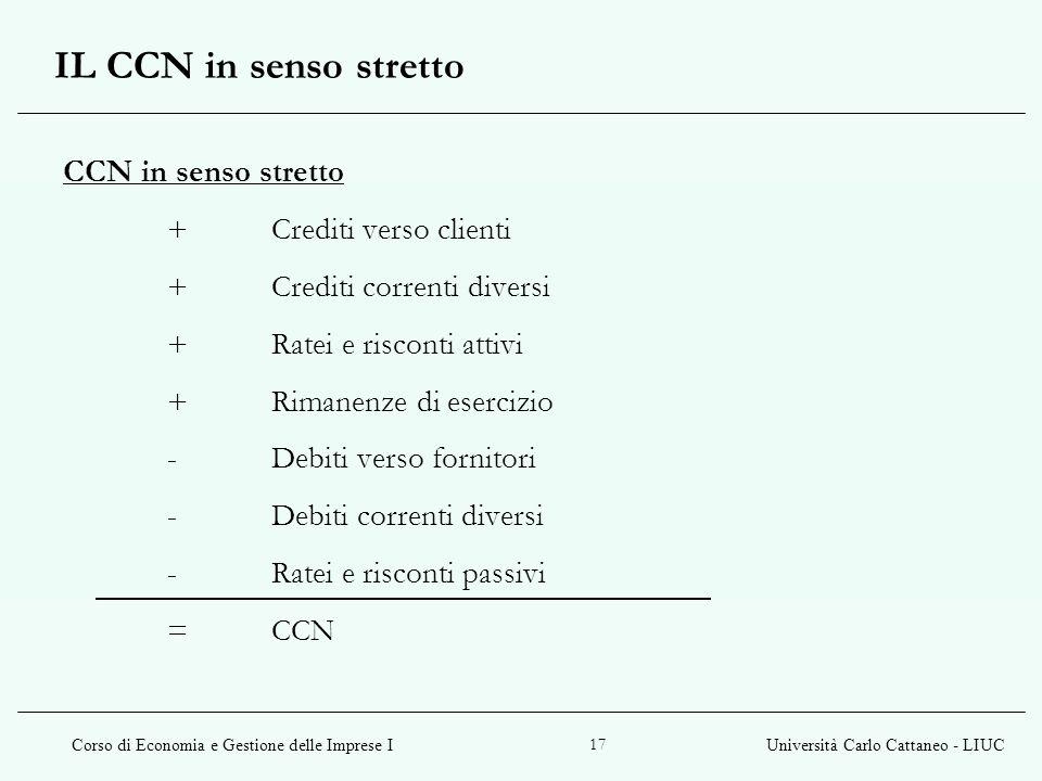 IL CCN in senso stretto CCN in senso stretto + Crediti verso clienti