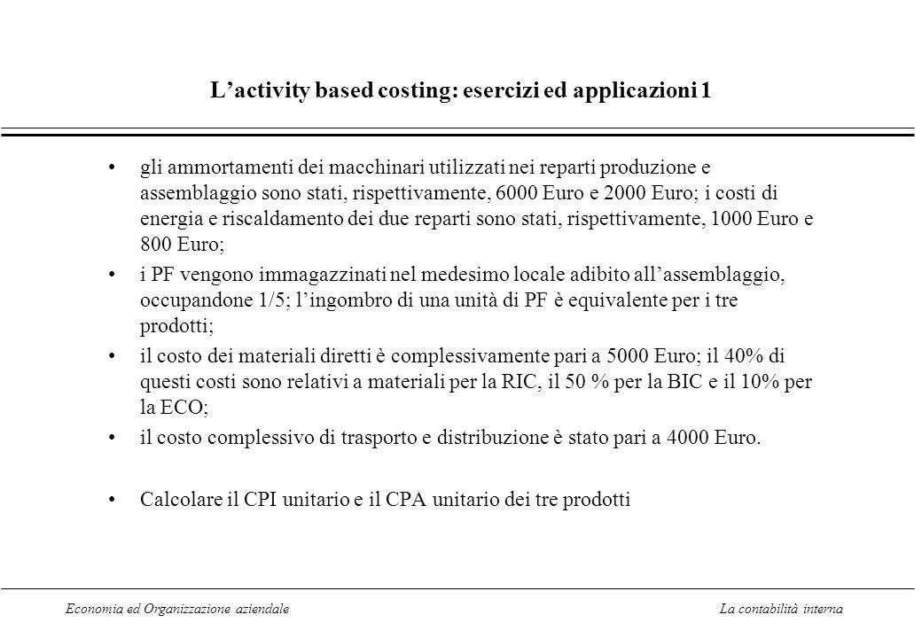 L'activity based costing: esercizi ed applicazioni 1