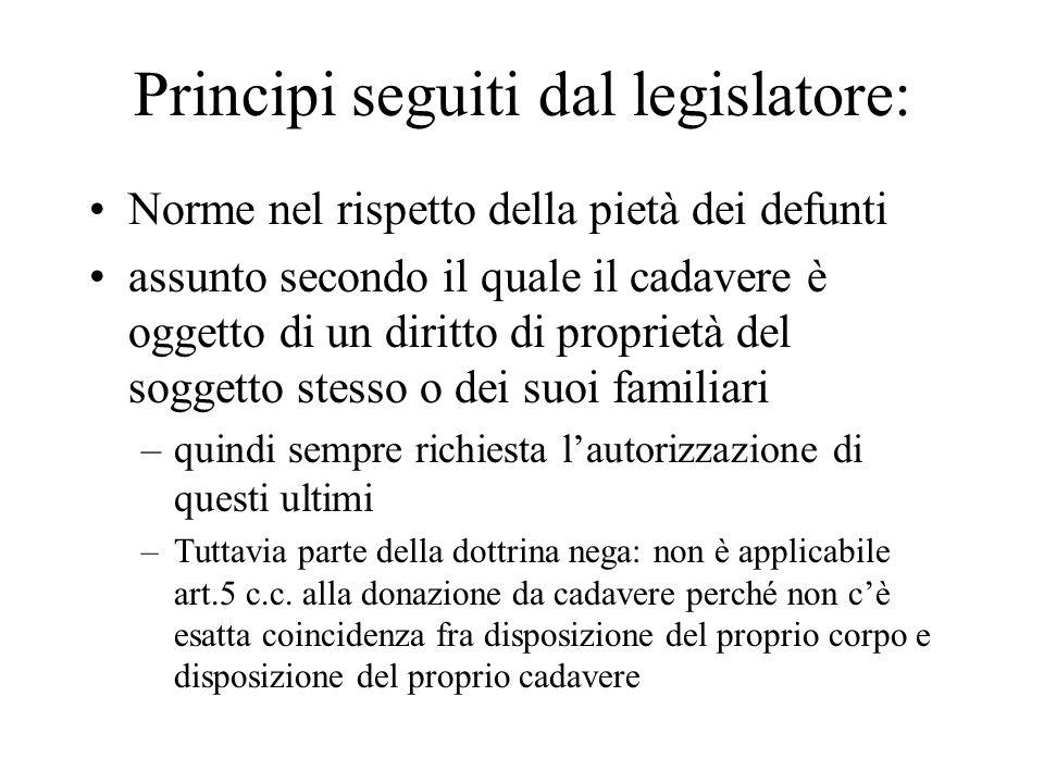 Principi seguiti dal legislatore: