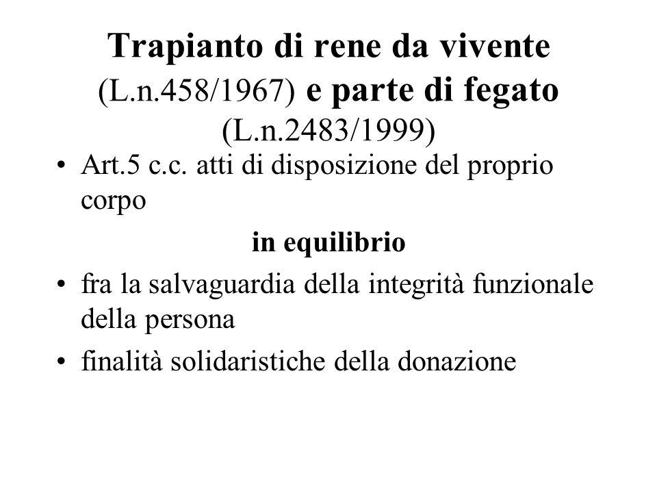 Trapianto di rene da vivente (L. n. 458/1967) e parte di fegato (L. n