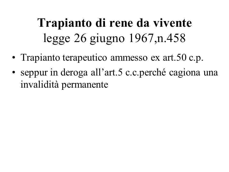 Trapianto di rene da vivente legge 26 giugno 1967,n.458