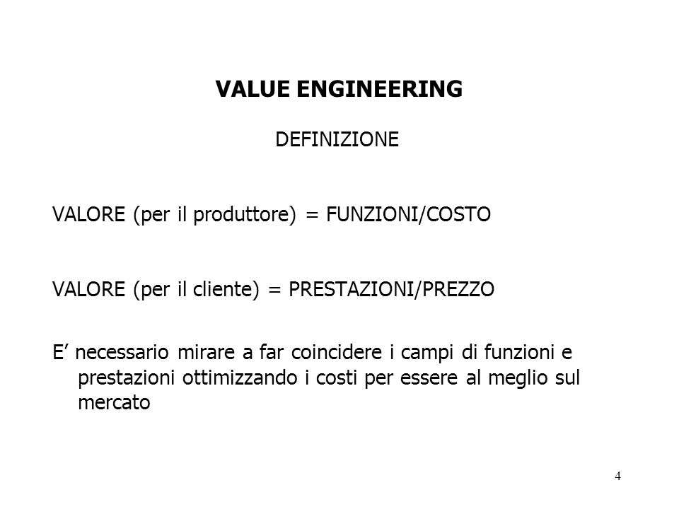 VALUE ENGINEERING DEFINIZIONE