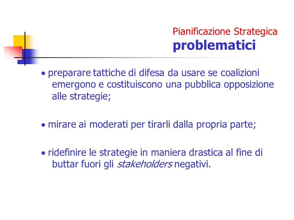 Pianificazione Strategica problematici