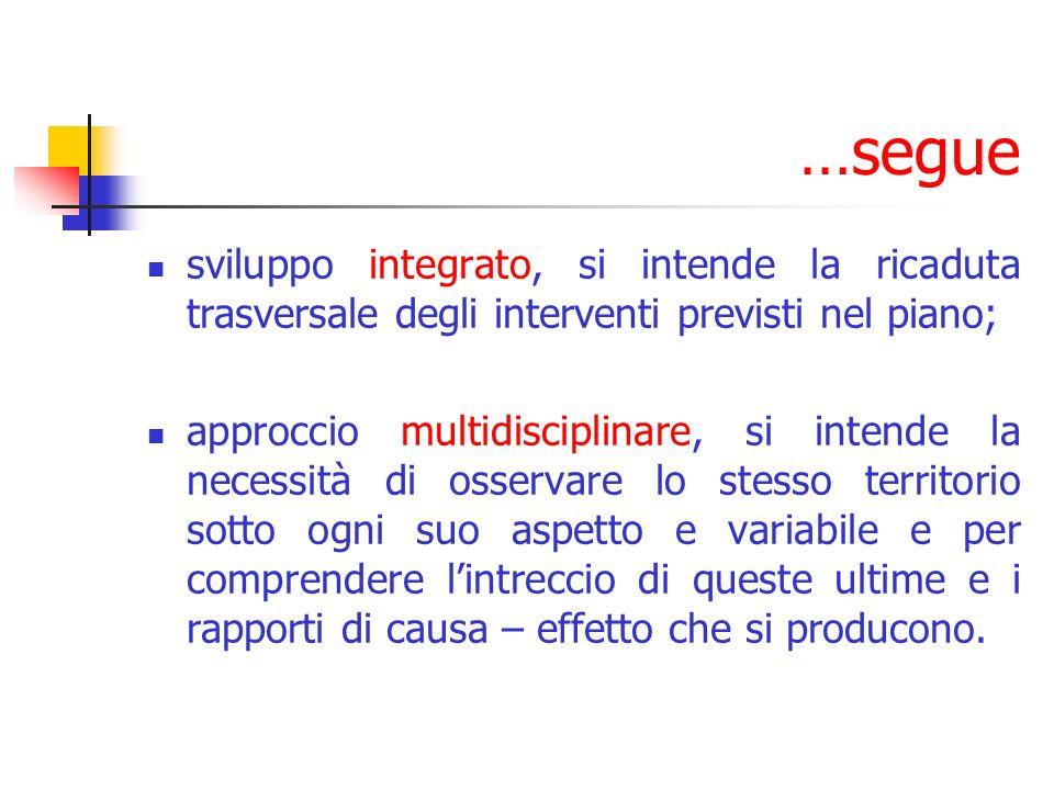 …segue sviluppo integrato, si intende la ricaduta trasversale degli interventi previsti nel piano;